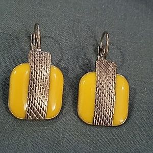 Vintage mustard yellow & gold square drop earrings